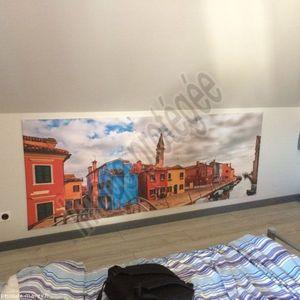 Photos des travaux de peinture et pose de tissus tendu - Entreprise Olivier Mairey